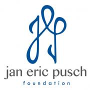 lockup for Jan Eric Pusch Charitable Foundation with large cursive and connected lower-case 'j', 'e', and 'p'